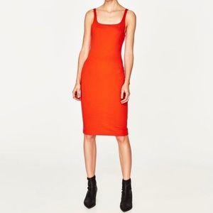 Zara Trafaluc Bodycon Fitted Midi Orange Dress